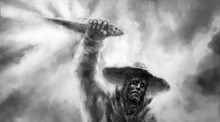 Evil Sorcerer With Hat Holds Ritual Dagger Above His Head. Light Rays On Dark Clouds. Spooky Art For Nightmares. Coal, Grunge And Noise Effects. Gloomy Character Concept Art. Scary Hellish Person.