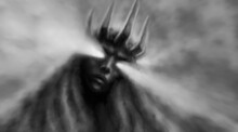 Goddess Of Darkness. Horror Fantasy Illustration With Blur Effect. Evil Queen With Crown On Her Head And Looks Down. Scary Female Face With Glowing Eyes. Gloomy Character Concept Art.