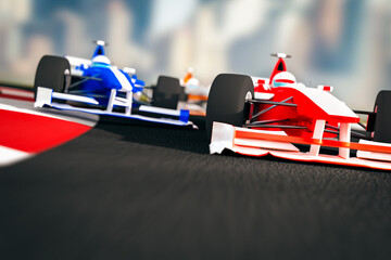 Close-up Of Toy Racecars On Road