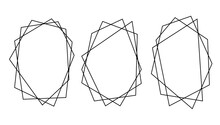 Vector Set Of Polygon Frames Isolated On White Background. Line Art, Freehand Style