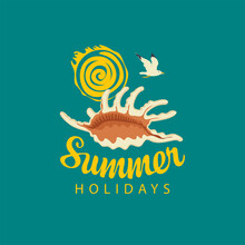 Travel Banner With Beautiful Brown Seashell, Decorative Sun, Flying Seagull And Inscription Summer Holidays In Retro Style. Vector Summer Poster, Flyer, Invitation, Card, T-shirt Design