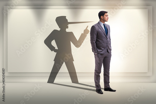 Fototapeta Concept of businessman liar with his shadow