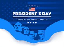 Happy Presidents' Day Card With Rushmore Four Presidents Background And Lettering - Vector Illustration