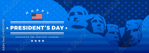Obraz na plátně Presidents Day banner blue background vector illustration lettering Happy Presid