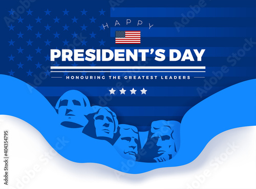 Fotografie, Obraz Happy Presidents' Day card with Rushmore four presidents background and letterin