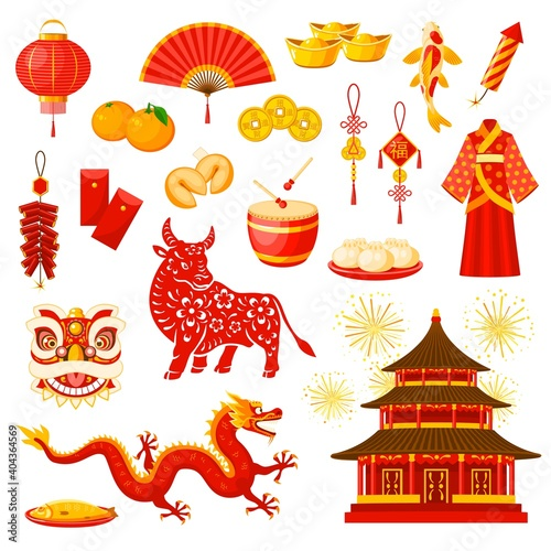 Obraz Chinese New Year holiday celebration symbols set. Lucky and wealth amulets, fireworks, clothing and meals, Chinese zodiac calendar bull or ox animal, dragon and temple building vector icons - fototapety do salonu