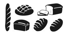 Bakery Flat Black Icon Set. Bread Rye, Whole Grain And Wheat Loaf Bread And French Baguette, Ciabatta. Baked Goods, Design Menu Bakery Pastry Symbol. Stylish Modern Vector Illustration