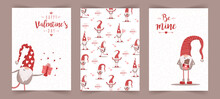 Valentines Day Scandinavian Cards. Cute Little Gnomes In Red Hats. Be Mine. Vector Illustration In Cartoon Style. Noel Vintage Postcards On White Background.