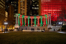 Chicago, Illinois, USA: Chicago Downtown At Night. Jay Pritzker Pavilion With Christmas Light, View From Millennium Park.
