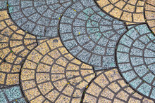 Street Paving Tiles In The Form Of Fan Or Shell Blue And Yellow