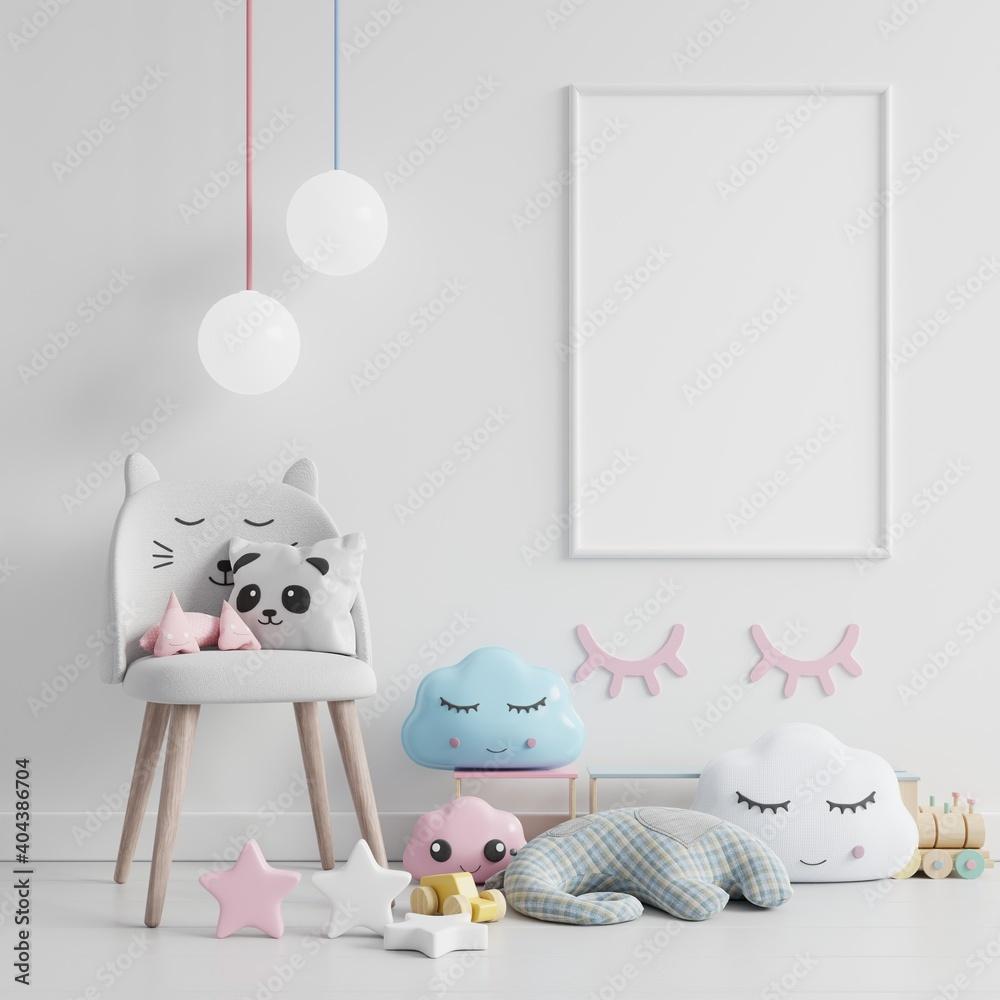 Fototapeta Mock up poster frame in children room,kids room,nursery mockup,White wall.