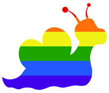 Snail Love LGBT Flag. Gay, Lesbian, Bisexual And Transgender Icon Vector