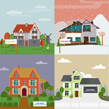 Colorful Villas And Cottages Flat Set