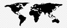 Simple World Map In Checkerboard BG. Global Map. America, Europe, Asia, Australia. North, South, East, West.