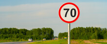 70 Speed Limit Road Sign On Country Road