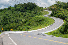Beautiful Steep Curved Road (look Like Number 3) On The High Mountain In Nan Province, Thailand. An Iconic Tourist Attraction Place On The Way To Bo Kluea (means Salt Well) District.