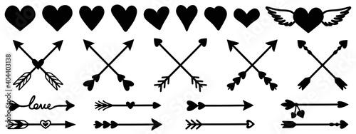 Fototapeta Heart vector set. Arrow  vector set.Heart icon set. Arrow  icon. Heart sign. Arrow  sign. obraz