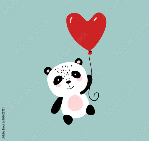 Fototapeta premium Cute panda flying on a heart shaped balloon, simple flat cartoon illustration for birthday, baby shower, valentine day. Vector