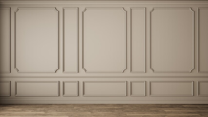 Classic interior with blank wall, pannel, moldings. 3d render illustration mock up.