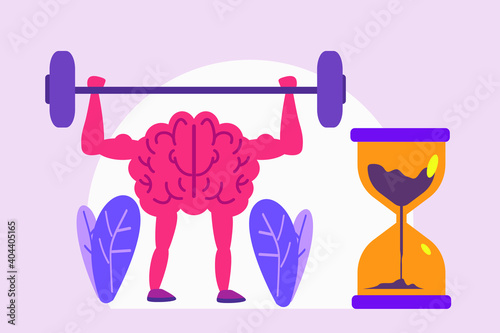 Fototapeta premium Exercise vector concept: Brain doing exercise with dumbbell and hourglass