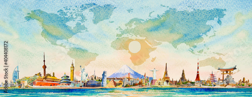 Travel around the world to asia, europe, america. Famous landmarks.