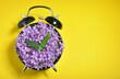 Leinwandbild Motiv Purple Flowers On Alarm Clock Over Yellow Background