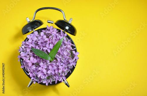 Purple Flowers On Alarm Clock Over Yellow Background