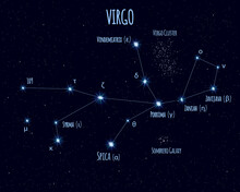 Virgo Constellation, Vector Illustration With The Names Of Basic Stars Against The Starry Sky