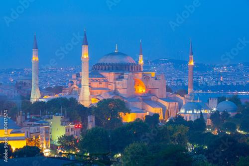 Obraz na plátně Blue Mosque and Hagia Sophia Mosque aerial view