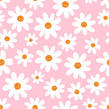 Seamless Pattern With Cute Hand Drawn Daisy Flower On Pink Background Vector Illustration.