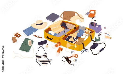 Obraz Open suitcase with scattered female travel accessories, clothes and documents vector flat illustration. Composition of preparation to trip or summer vacation isolated. Luggage or baggage packing - fototapety do salonu