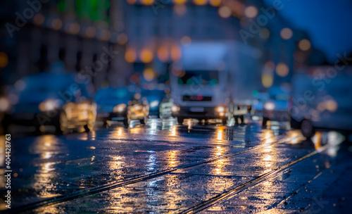 Obraz nigh traffic in the city  - fototapety do salonu