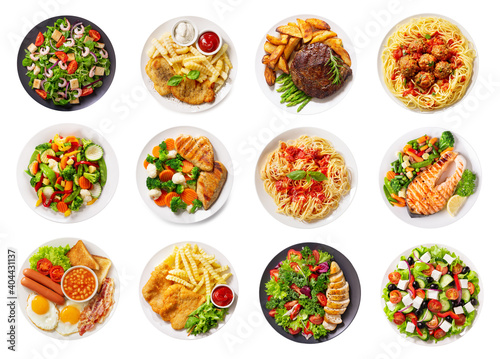 Fototapeta various plates of food isolated on a white background, top view obraz
