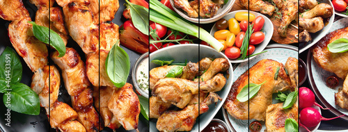 Obraz Mixed grilled chicken collage - fototapety do salonu