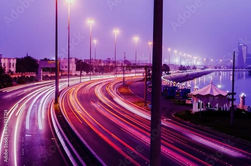 Obraz Light Trails On Road At Night - fototapety do salonu