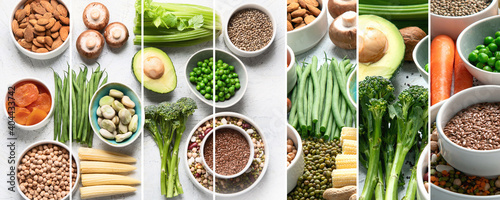 Fototapeta Collage of healthy food for vegans and vegetarian. obraz
