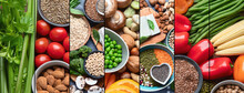 Collage Of Healthy Food For Vegans And Vegetarian.