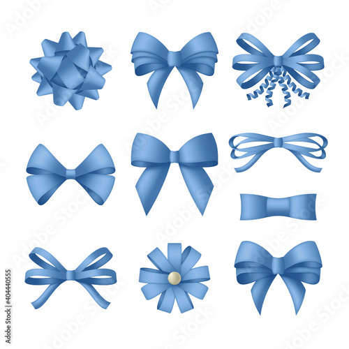 Decorative blue bow with ribbons Wallpaper Mural