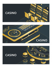 Set Of Casino Banners. Roulette Table, Slot Machine And Black Jack