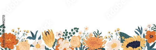 Foto Gorgeous floral backdrop with border of blooming autumn flowers and leaves
