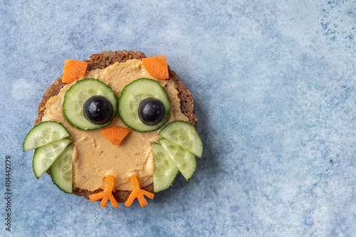 Funny owls toast with cucumber and hummus toasts