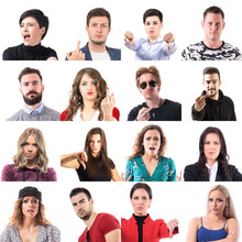 Set Of Angry Displeased Males And Females People Disapproving With Various Gestures Isolated On White Background.
