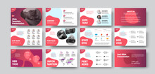 Infographic Slides Presentation With Pink Abstract Design For Use In Annual Report, Data Analytics With Brand Corporate Identity.