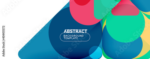 Obraz Flat geometric round shapes and dynamic lines, abstract background. Vector illustration for placards, brochures, posters and banners - fototapety do salonu