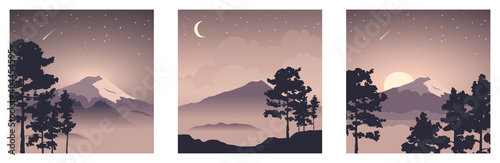 Fotografie, Obraz Abstract landscape with mount fuji / Vector illustration, three square background, starlight night, collection japanese landscape with pine trees in the foreground