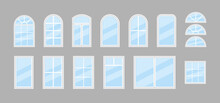 Glass Window. Icon Of Windows With Frame For House And Office. Double Window With Arch For Balcony. Hung Glass For Architecture Or Exterior. Plastic Windowpane For Building. Isolated Icons. Vector