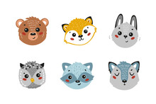 Cartoon Cute Animal Faces Vector Set. Doodle Forest Animals: Bear, Fox, Hare, Owl, Raccoon And Wolf