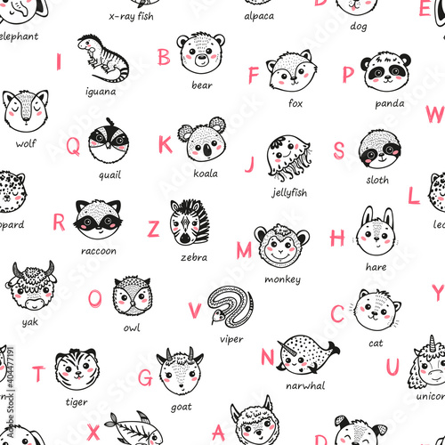 Fototapeta premium Cute Animal Alphabet Seamless Pattern. Cartoon Funny Baby Animals Faces and Doodle Latin Letters and Names. Childish Vector ABC Background