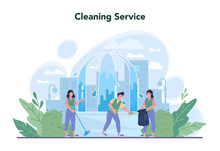 Cleaning Service Or Company Concept. Cleaning Staff With Special
