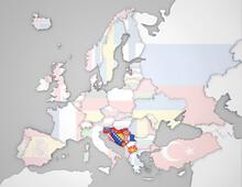 3D Europakarte Auf Der Die Nachfolgestaaten Des Ehemaligen Staates Jugoslawien Hervorgehoben Werden Und Die Restlichen Flaggen Transparent Sind